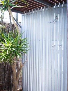 Heated outdoor shower