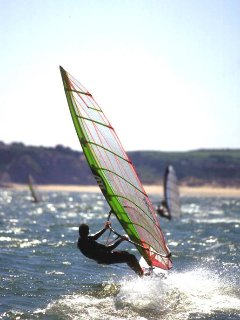 Windsurfing off Tenby coast.