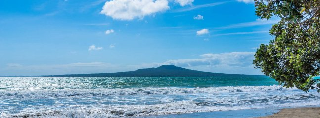View of Rangitoto from the end of your street, which is only a 1 minute walk from Sky Blue