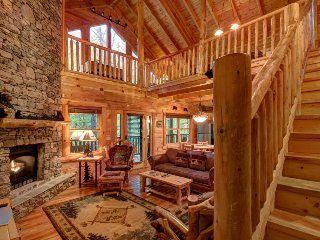 Secluded cabin near creek w/ hot tub, deck, game room & shared seasonal pool!