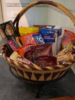 sample gift basket on arrival