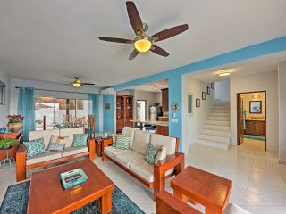 The beachy interior is well appointed with coastal decor and elegant furnishings.
