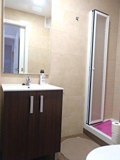 Cuarto de baño en suite anexo a la habitación principal. Con ducha.