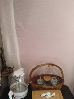 Glamping Tent:Tea & Coffee Supplies. Paw Haven offers 'Paw-Cation'