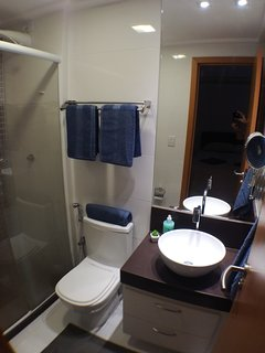 One of our two bathrooms, en-suite to the master bedroom.