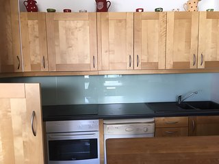 Kitchen area (fridge door open -makes it looks smaller than it is)