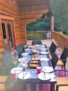 Outside dining on 400 square foot deck