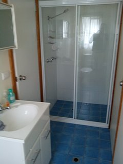 downstairs bathroom with shower, toilet and vanity