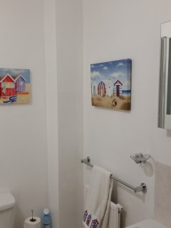 Modern seaside themed bathroom. Electric shaver point.