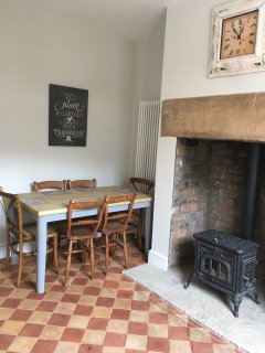 Beautiful vintage log burner and restored original quarry tiles.
