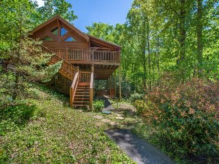 Luxurious, super private cabin w/ game room, hot tub, & fireplace!