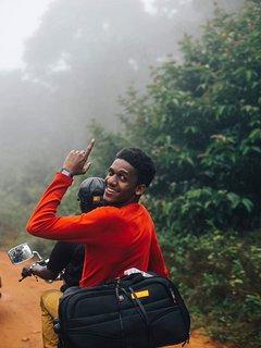 Going up the mountains with boda boda, an aka for pikipiki (swahili for motorcycle)