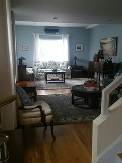 The living room is large, bright, light and cheery!
