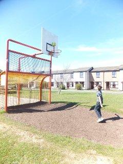 Basketball and football area on the resort