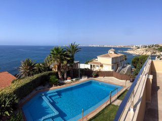Children friendly beachfront villa with spectacular sea views.