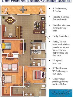 Interior Layout of Homes.  TVs in each bedroom, DVD player in family room and twin bedroom