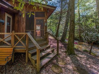 Charming creekside cabin w/ deck, screened porch & firepit - great for families!