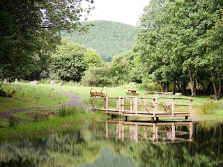 Bespoke log house in mid Wales with unspoilt views, hot tub, village amenities