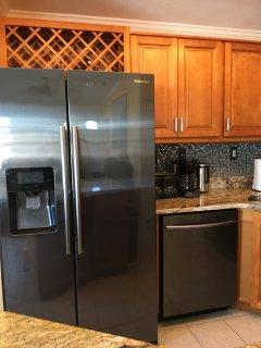 Updated kitchen.  Fridge with ice maker