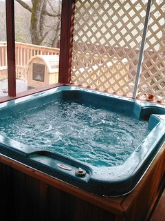 Hot tub in screened in porch.