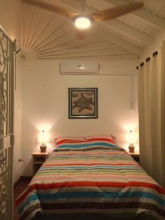 Upstairs bedroom #2: Detals, including AC and lighted ceiling fan