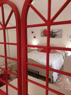 Mirrors in the red bedroom