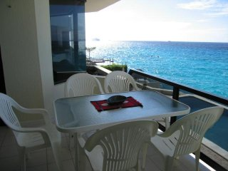Private balcony with dining table