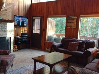 Flat screen TV, DVD, IPOD, wood burning fireplace with free wood.