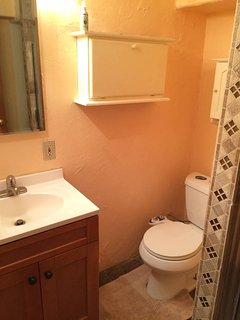 Newly Remodeled Bathroom with shower stall, sink, toilet and european style bidet