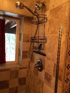 Shower Stall with a view of the forest