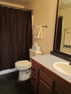 Main bathroom with tub / shower.