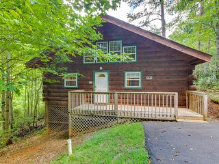 Cozy dog-friendly cabin w/private hot tub, jetted tub & great screened-in deck