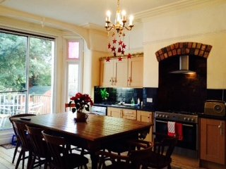 Beautiful large fully equipped kitchen. Table top lifts up to reveal snooker/pool table