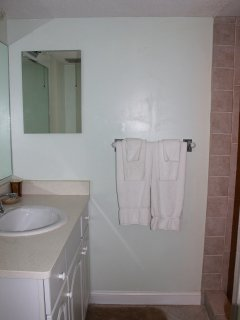 There is a full bath accessible from the hall.