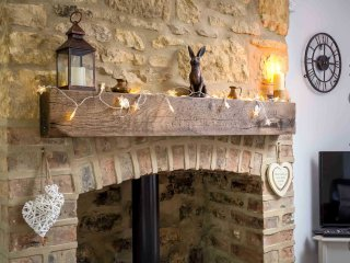 The decorative fireplace surrounds a wood burning stove