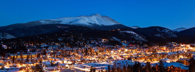 Downtown Breckenridge night view as seen from Ski Hill Road overlook