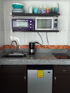 kitchenette with double cook top, microwave, toaster oven, coffee maker, blender, kettle, fridge