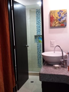 remodeled bathroom (shower/toilet room retiled)