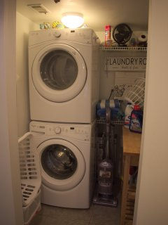 Brand New Stacked Laundry Area, Towels, Soap, Etc