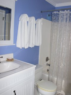 The bathroom is bright and has updated features. It has a shower/tub.