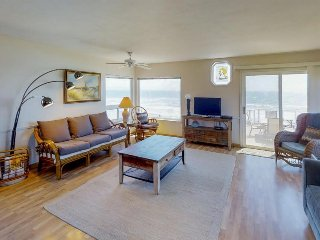 Dog-friendly, oceanfront home with fireplace, furnished deck, & incredible view