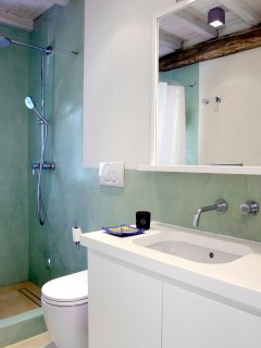 One of the six bathrooms with shower.