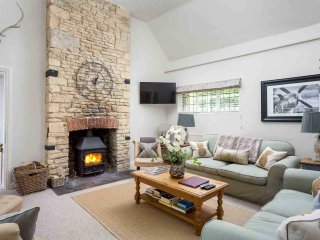 The stunning, stylish living room, with log burner