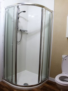 Separate shower in the bathroom.