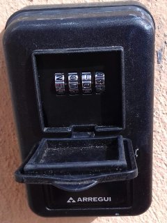 Key safe located outside the apartment