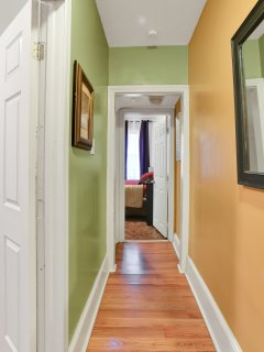 View of the hallway leading to the bedrooms upstairs.  Every room is private and separate from the o