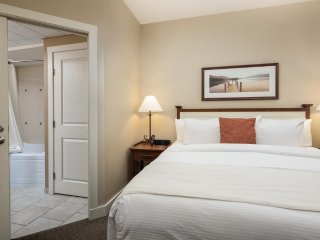 The master bedroom is furnished with a plush king-sized bed.