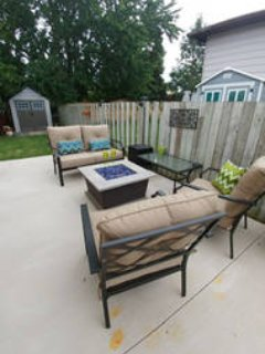 Quiet outdoor seating area with Propane Fire Table