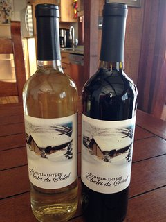 Bottle of red, bottle of white, perhaps... Private label wine compliments of Chalet du Soleil.