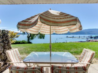 Lakefront condo with great views, shared pool, tennis courts, skiing nearby!